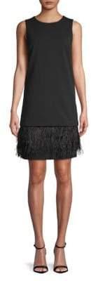 Calvin Klein Feather-Trimmed Sleeveless Short Dress