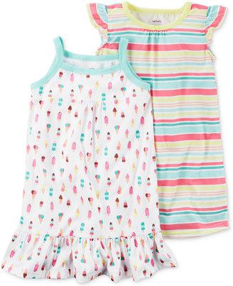Carter's 2-Pk. Ice Cream & Stripes Nightgowns Set, Little Girls (2-6X) & Big Girls (7-16) $34 thestylecure.com