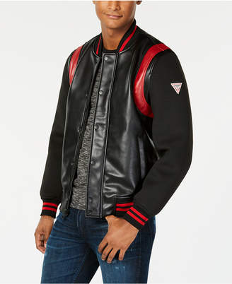 GUESS Men Colorblocked Mix-Media Faux-Leather Logo Bomber Jacket