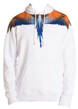 Marcelo Burlon County of Milan Men's Wings Cotton Hoodie - White Orange - Size Small