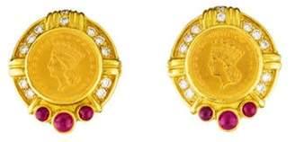 Judith Ripka Diamond & Ruby 1 Dollar Coin Earrings yellow Diamond & Ruby 1 Dollar Coin Earrings