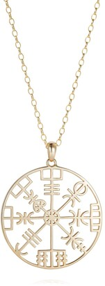 Hendrikka Waage 9Ct Yellow Gold Direction Symbol Necklace