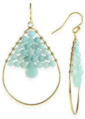 Taolei Wire Wrapped Beaded Agate Teardrop Hoop Earrings