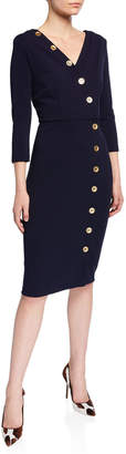 Neiman Marcus Madison 3/4-Sleeve Button Down Body-Con Dress