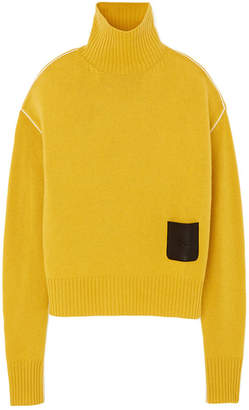 Rochas Turtleneck Leather-Detail Sweater