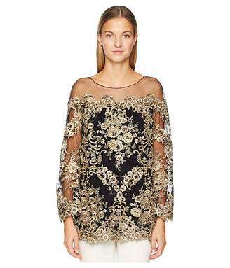 883eba5174ba4b Marchesa Corded Lace Off the Shoulder Tunic with 3/4 Length Sleeves