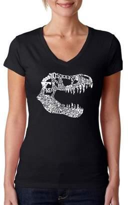 "Pop Culture Los Angeles Pop Art Women's ""TREX"" V-Neck T-Shirt"