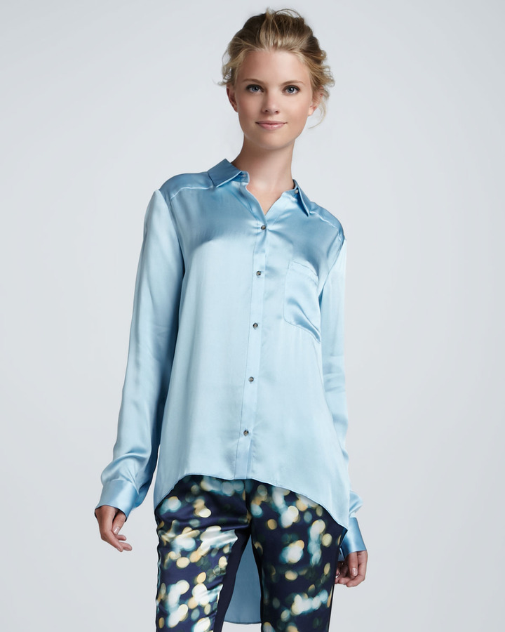 Elizabeth and James Shawn Satin High-Low Blouse