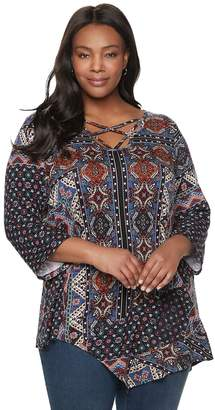 6eec9bf62f0 Plus Size World Unity Print Strappy Neck Top