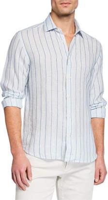 Culturata Men's Striped Washed Linen Sport Shirt