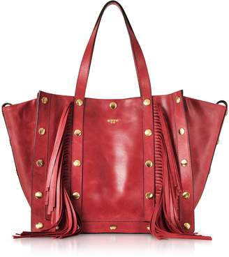 Moschino Red Leather Tote Bag W/fringes And Golden Studs