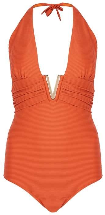 Casablanca Orange Halterneck Swimsuit