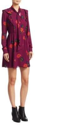 Tanya Taylor Aubree Floral Mini Silk Dress