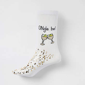 River Island Cream 'gingle bells' ankle socks