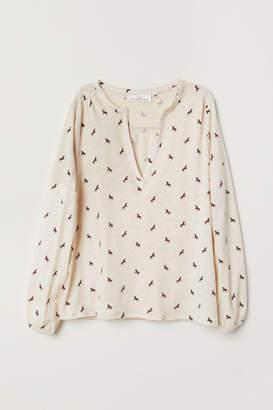 H&M V-neck Jersey Blouse - Beige