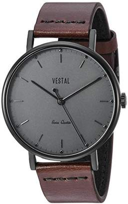 Vestal ' Sophisticate Leather' Swiss Quartz Stainless Steel and Man Made Dress Watch