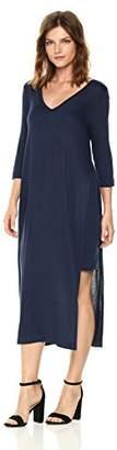 Three Dots Women's Featherweight Sweater Double v midi Loose Dress