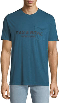Rag & Bone Men's Garment-Dyed Pocket T-Shirt with Logo