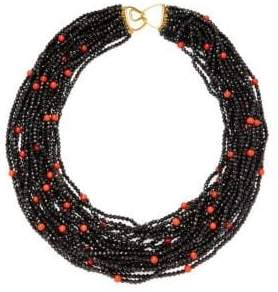 14K Gold Multi-Strand Beaded Layered Necklace