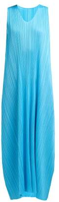Pleats Please Issey Miyake Pleated Trapeze Cut V Neck Midi Dress - Womens - Blue