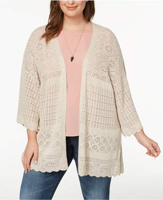Style&Co. Style & Co Plus Size Pointelle Bell-Sleeve Kimono, Created for Macy's