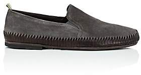 Officine Creative Men's Twisted-Detail Suede Venetian Loafers-Dark Gray