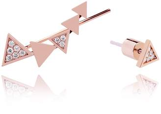 Astrid & Miyu - Black Magic Triangle Earrings in Rose Gold