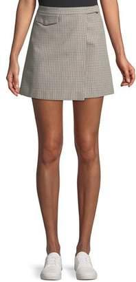 Theory Snap-Tab Fremont Plaid Wrap Mini Skirt