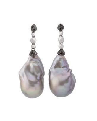 Michael Aram Molten Drop Earrings w/ Gray Baroque Pearls