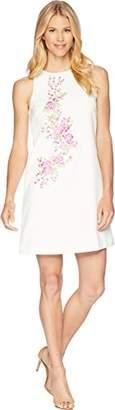 Tahari by Arthur S. Levine Women's Sleeveless Embroidered Crepe Dress