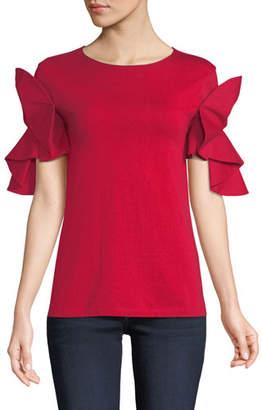 Badgley Mischka Knit T-Shirt w/ Origami Sleeves