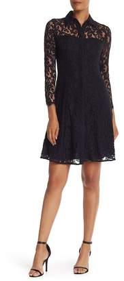 Nanette Lepore NANETTE Collared Lace Shirt Dress