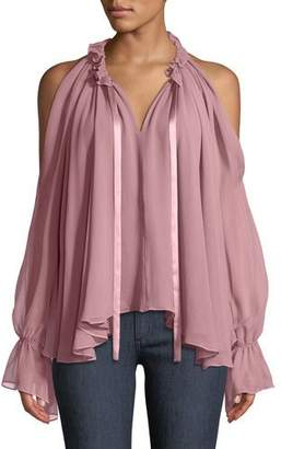 Ramy Brook Blaine Cold-Shoulder Silk Ruffle Blouse