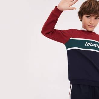 Lacoste Boys' Crew Neck Lettering Colorblock Jersey Sweater