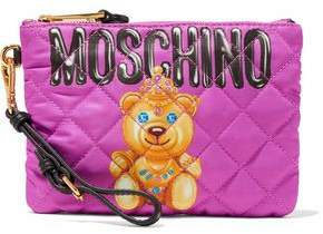 Moschino Printed Quilted Twill Wristlet