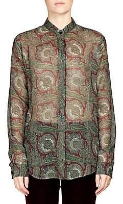 Saint Laurent Women's Paisley Print Button Front Shirt