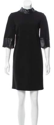 Gucci Leather-Trimmed Shift Dress