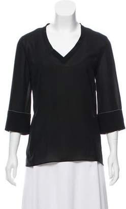 Brunello Cucinelli Silk-Blend Long Sleeve Top