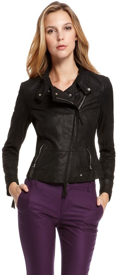 HUGO BOSS 'Junna' | Metallic Leather Jacket by BOSS Orange