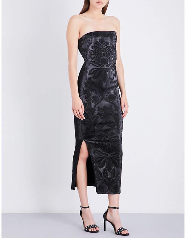 Area Barb strapless stretch-lamé midi dress