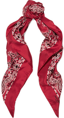 Saint Laurent - Printed Silk-twill Scarf - Red $345 thestylecure.com