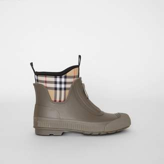 Burberry Vintage Check Neoprene and Rubber Rain Boots , Size: 38, Green