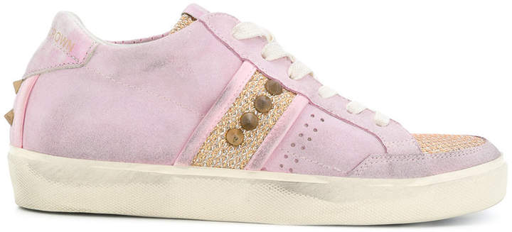 Leather Crown panelled sneakers