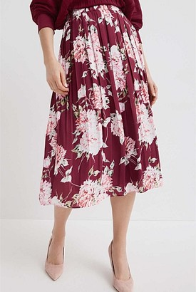 Witchery Pleated Print Skirt