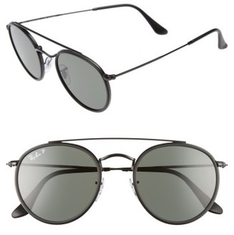 Women's Ray-Ban 51Mm Polarized Round Sunglasses - Black/ Polar $210 thestylecure.com