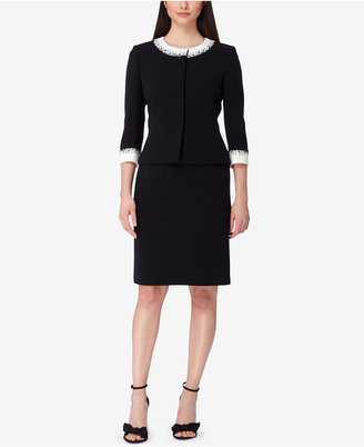 Tahari Asl Beaded Contrast-Trim Skirt Suit $320 thestylecure.com