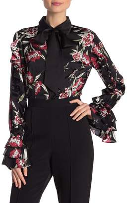Gracia Floral Printing Ruffle Sleeve Blouse