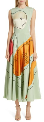 Roksanda Face Print Silk Dress