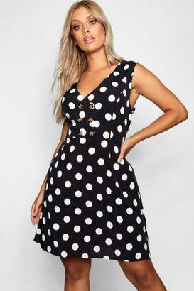 boohoo Plus Horn Button Polka Dot Skater Dress