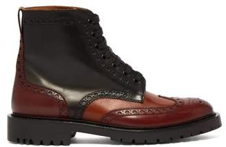 Burberry Barkeston Brogue Leather Boots - Mens - Brown